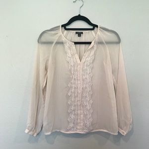 Ann Taylor Sheer Blouse with Ruffle Detailing